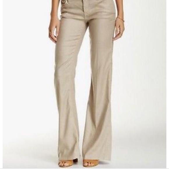 682065fa4994 Level 99 Pants - Level 99 Shayla Linen Blend Wide Leg Trouser Pants